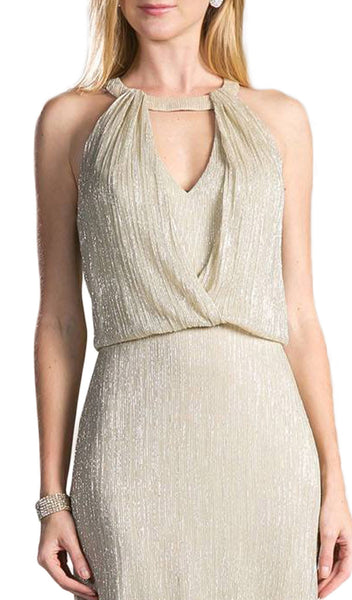Sleeveless Halter Neck Blouson Sheath Dress