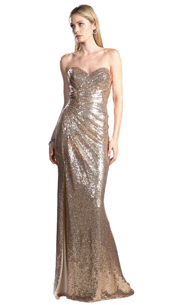 Strapless Sequined Pleated Sheath Dress