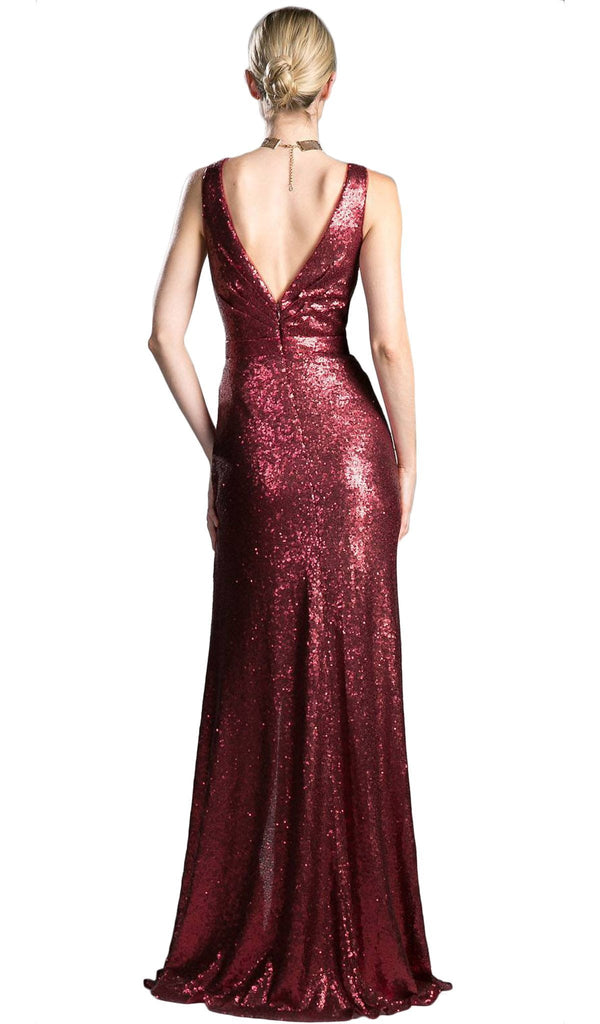 Fitted V Neck Evening Dress with Slit