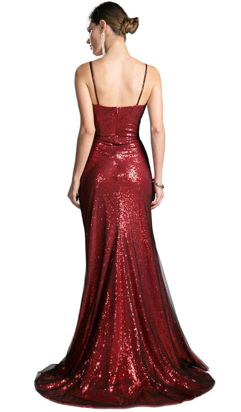 Sequined Fitted Sweetheart Evening Dress