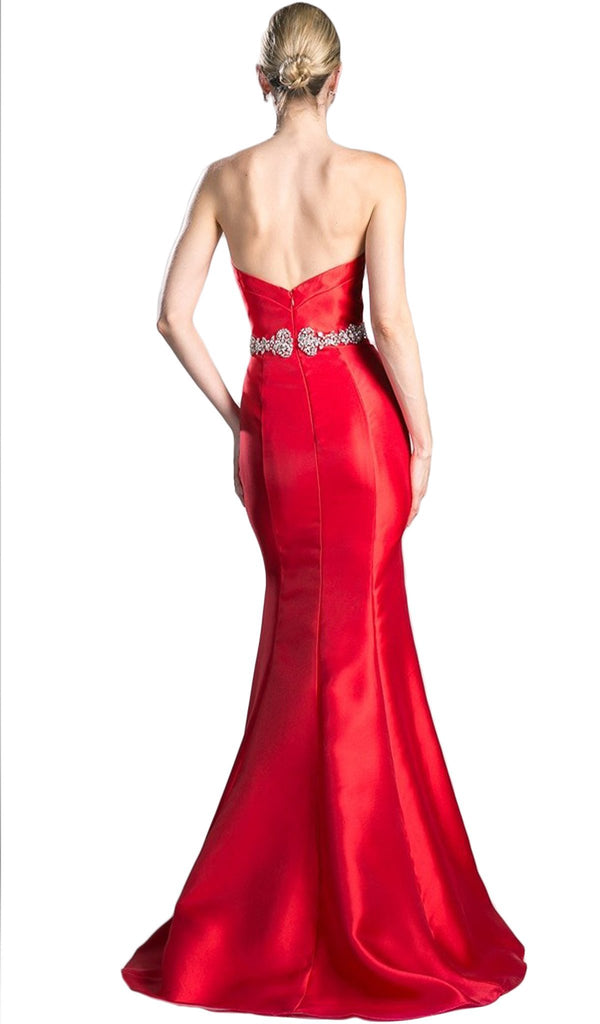 Strapless Fitted Embellished Mermaid Evening Dress