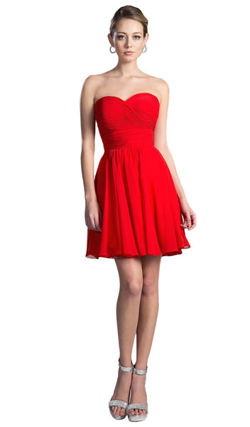 Rosette Pleated Sweetheart Chiffon Cocktail Dress