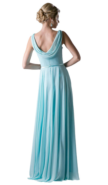 Sleeveless Cowl Neck Draping Chiffon Gown