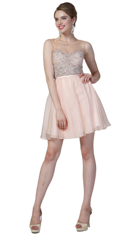 Sleeveless Bejeweled Illusion Bateau A-line Dress