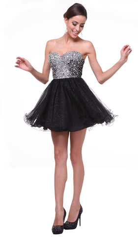 Strapless Bejeweled Sweetheart A-line Dress