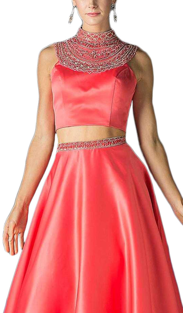 Beaded High Neck Two Piece Evening Gown - ADASA