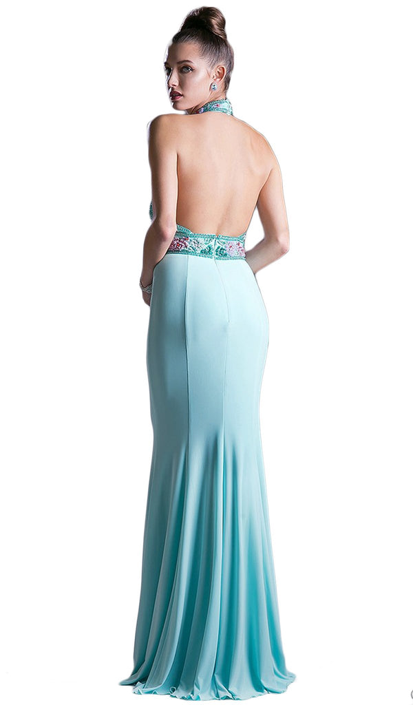 Embellished High Halter Evening Dress