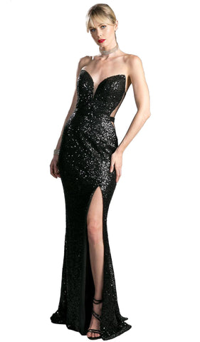 Strapless Illusion Sequined Evening Gown