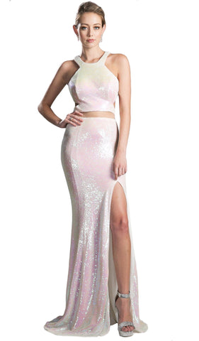 Halter Neck Mock Two-Piece Sequined Evening Gown