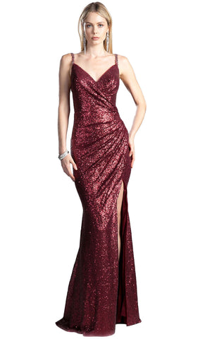 Full Sequined V Neckline Evening Gown