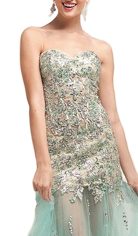 Strapless Embellished Trumpet Evening Gown