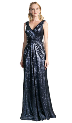 Surplice Bodice Draping Sequined Gown