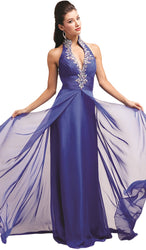 Cap Sleeve Appliqued Plunging Illusion Gown