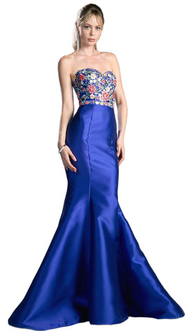 Floral Embellished Strapless Mermaid Evening Gown