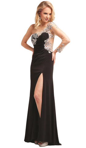 Asymmetrical Fitted Evening Dress with Slit - ADASA