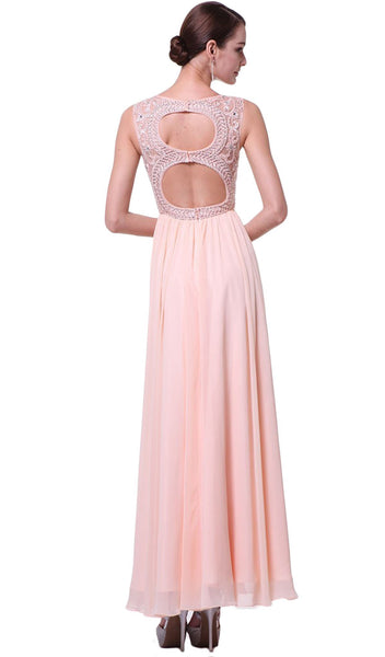 Embellished Jewel Neck A-line Chiffon Evening Gown