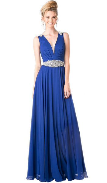 Beaded Plunging Ruched Evening Dress - ADASA