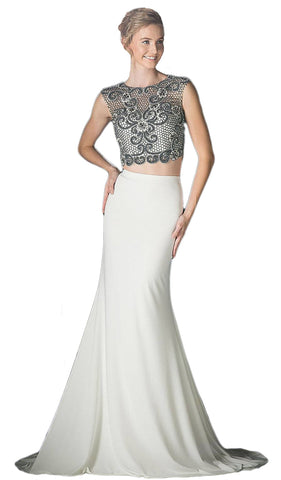 Beaded Sleeveless Two-Piece Chiffon Evening Gown - ADASA
