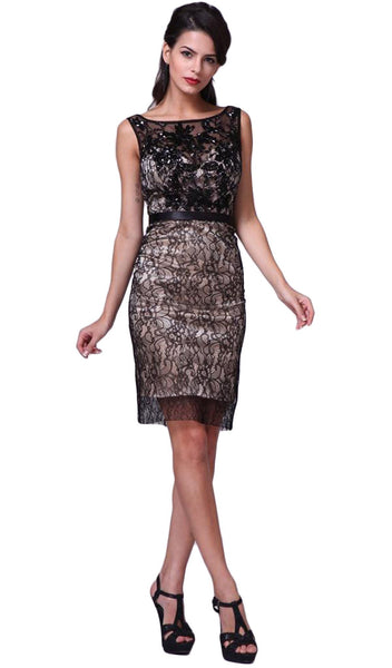 Bateau Neck Embellished Lace Cocktail Dress - ADASA