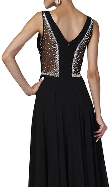 Beaded Sheer Ruched Evening Dress - ADASA