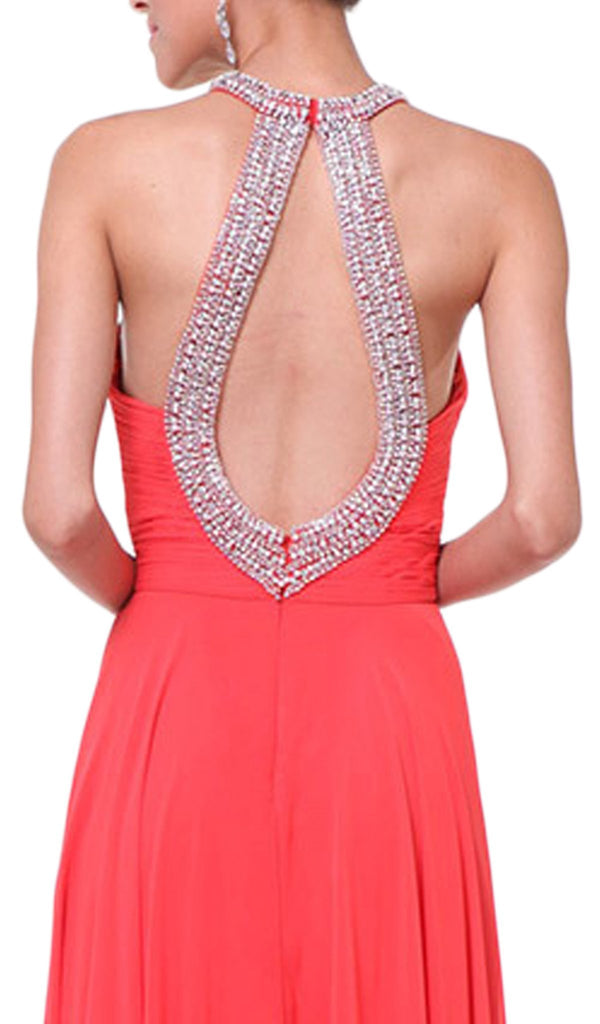 Bead Embellished High Halter Evening Dress - ADASA