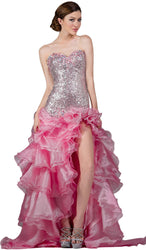 Jewel Crusted Illusion A-Line Homecoming Dress