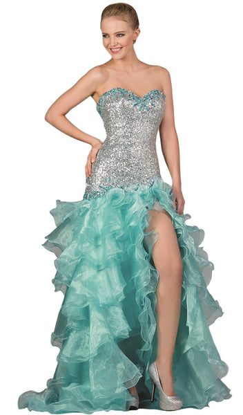 Strapless Sequined Ruffled Evening Gown