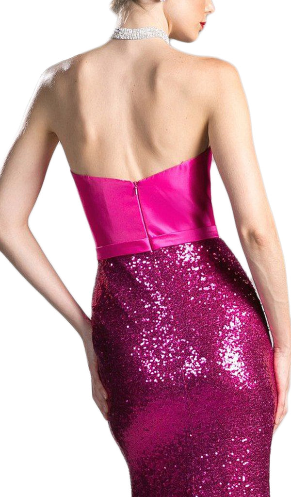 Strapless Sequined Fitted Evening Dress