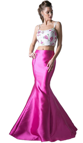 Two Piece Floral Mermaid Evening Dress