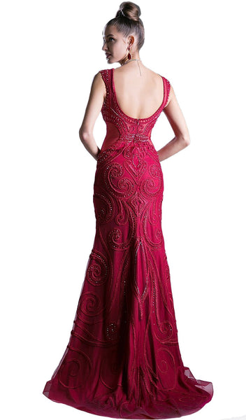 Bead Embellished Lace Fitted Evening  Dress - ADASA