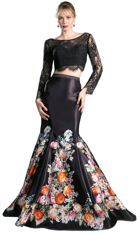 Long Sleeve Two-Piece Floral Evening Gown
