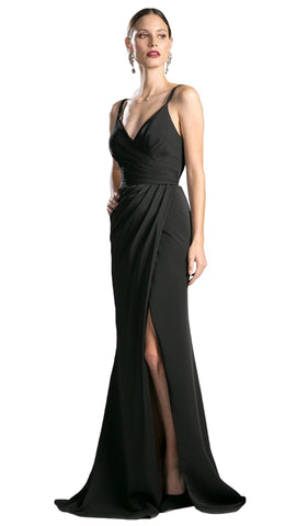 Sleeveless Wrap Bodice Drape-Detailed Gown