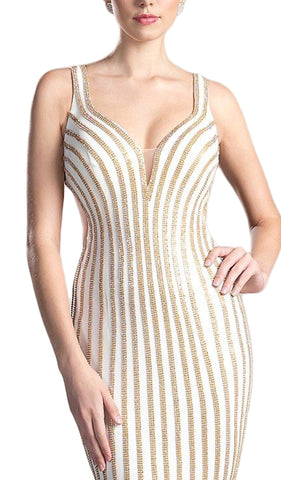 Gold Beaded V-neck Sheath Prom Dress