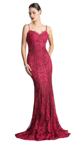 Floral Lace Sweetheart Sheath Evening Dress