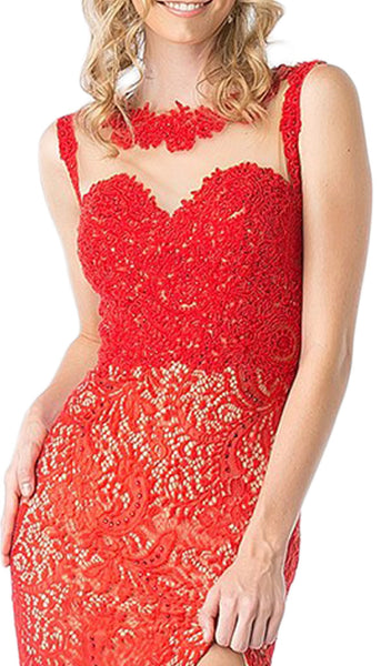 Illusion Jewel Neck Lace Evening Gown with Slit