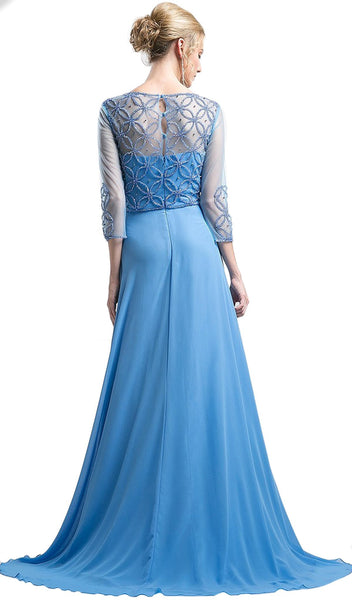 Quarter-Length Sleeves Beaded Chiffon Evening Gown