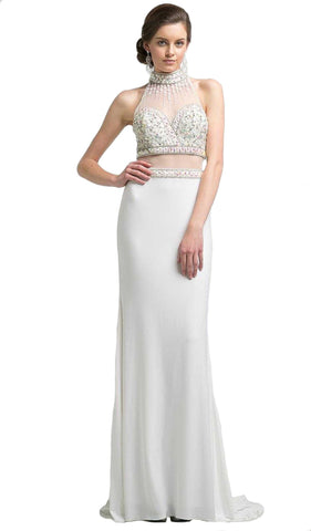 Beaded High Neck Faux Two-Piece Sheath Evening Gown - ADASA