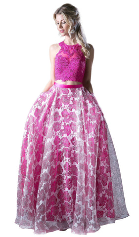 Two Piece Sequined Floral Printed A-line Gown