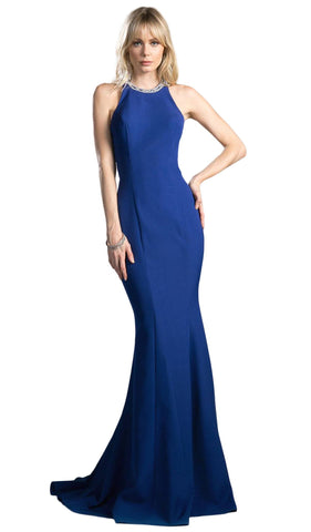 Beaded Halter Neck Jersey Sheath Prom Dress - ADASA