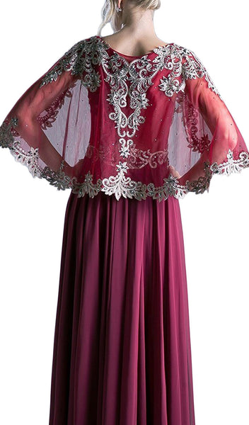 Cape Sleeves Beaded A-line Evening Dress - ADASA