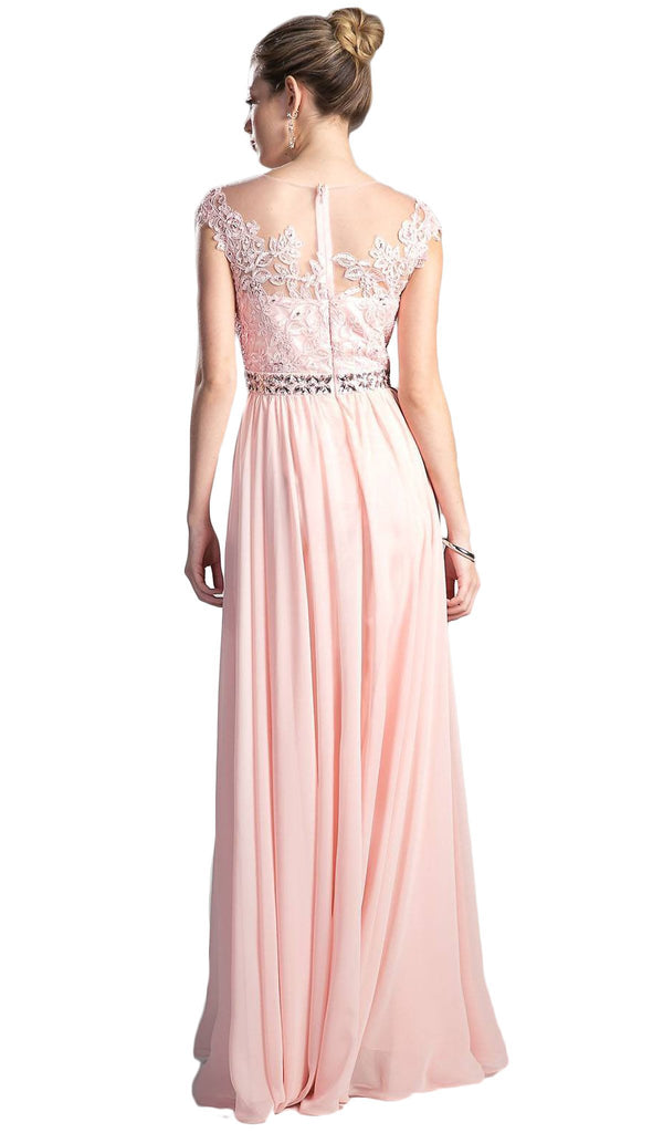 Beaded Lace Illusion Bateau A-line Dress - ADASA