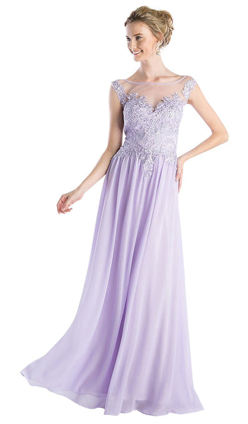 Appliqued Illusion Bateau Chiffon Evening Gown - ADASA