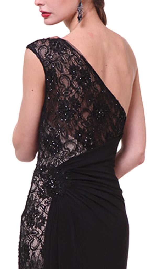 Asymmetric Lace Sheath Evening Dress - ADASA