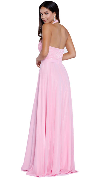 Halter Illusion Laced Bodice Long Evening Gown