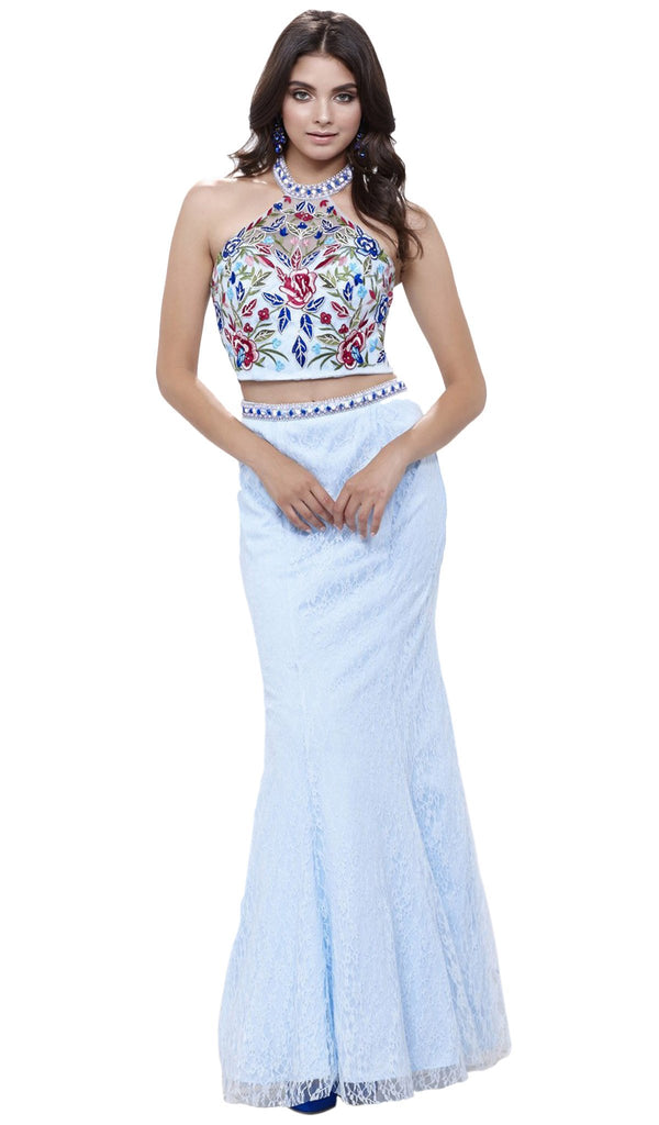 Two Piece Embroidered Mermaid Dress