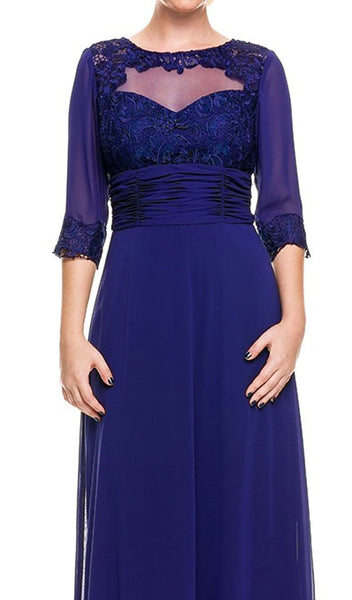 Quarter Length Sleeves Empire Long Formal Dress