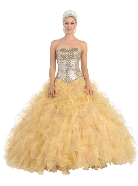 Strapless Semi-Sweetheart Evening Gown