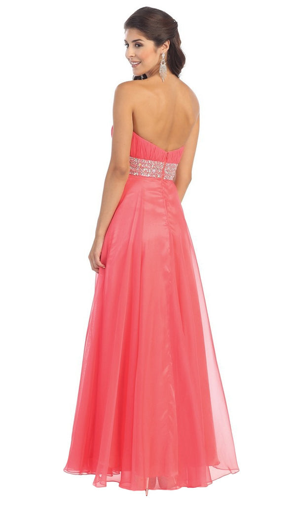 Finely-Tucked Sweetheart Chiffon Prom Dress