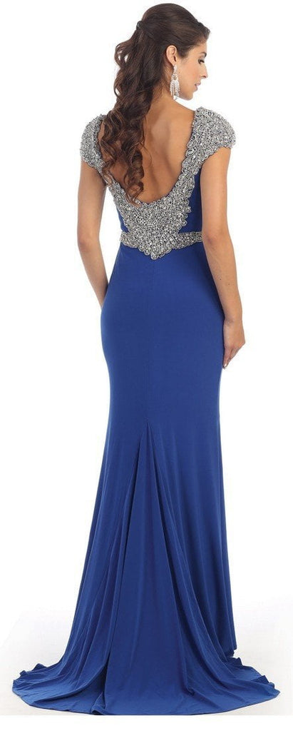 Bedazzled Bateau Sheath Evening Dress - ADASA