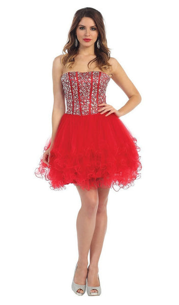 Sequined Sweetheart Corset Cocktail Dress